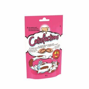 Catisfactions manzo è una deliziosa linea di fuoripasto per il proprio gatto. Si tratta di croccantissimi snack con un morbido ripieno a cui i gatti non sapranno resistere.