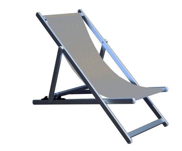 Sdraio reclinabile in alluminio con tela in textilene.