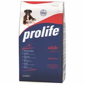 Prolife Adult Beef & Rice è un alimento completo formulato per le specifiche esigenze nutrizionali del cane adulto con un normale livello di attività.