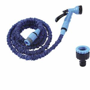 Tubo irrigatore estensibile a 15 mt completo di raccordi e pistola 7 funzioni.
