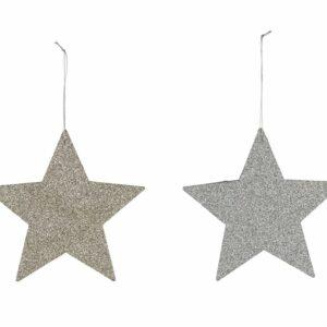 Deco stella argento oro cm 12.