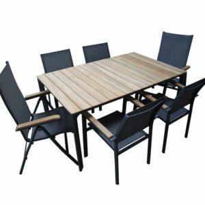 Set roy siviglia tavolo all/teak + 2 poltrone schienale regolabile + 4 poltroncine.
